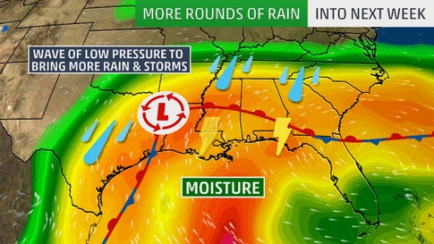 Rounds of Heavy Rain Will Bring Flood Threat to South, Likely ...