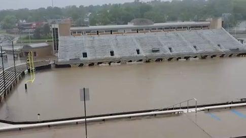 Western Michigan Football Stadium Floods in Kalamazoo, MI