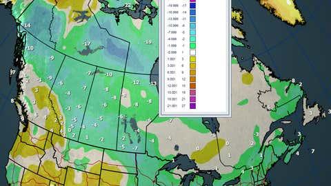 Sunday Max Temperatures and Departures (C)