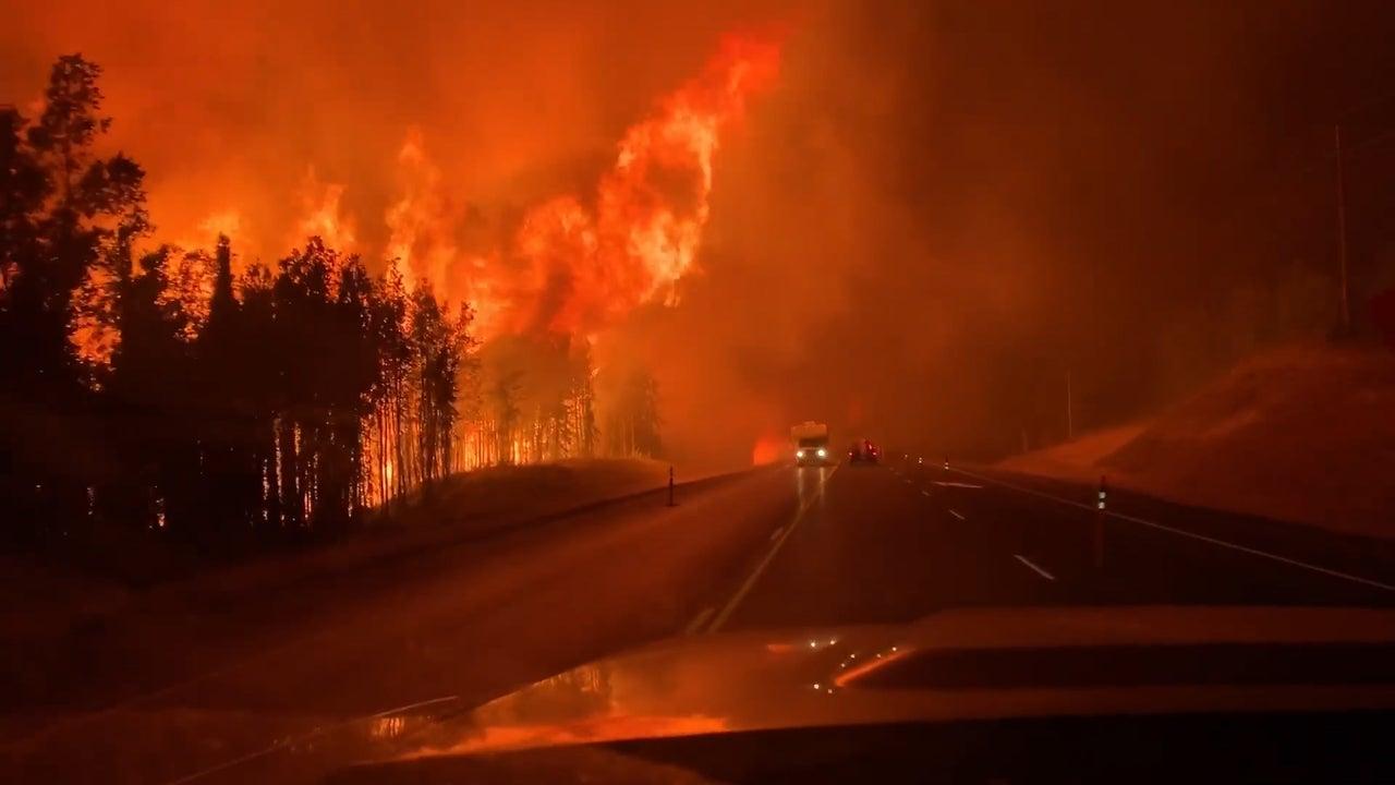 Cars Narrowly Avoid Flames from Massive Alaska Wildfire
