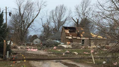A tornado damaged more than 100 homes in Taylorville, Illinois, on Saturday, December 1, 2018. (Owen Lasswell/Breeze Courier)