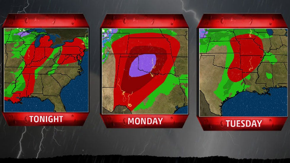 There's a threat of strong tornadoes on Monday