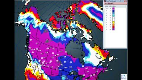 Maximum temperatures and departures--Thursday, December, 28/17
