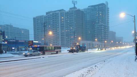 Snow falling in Toronto on Feb. 7, 2018. CITYNEWS/Bertram Dandy