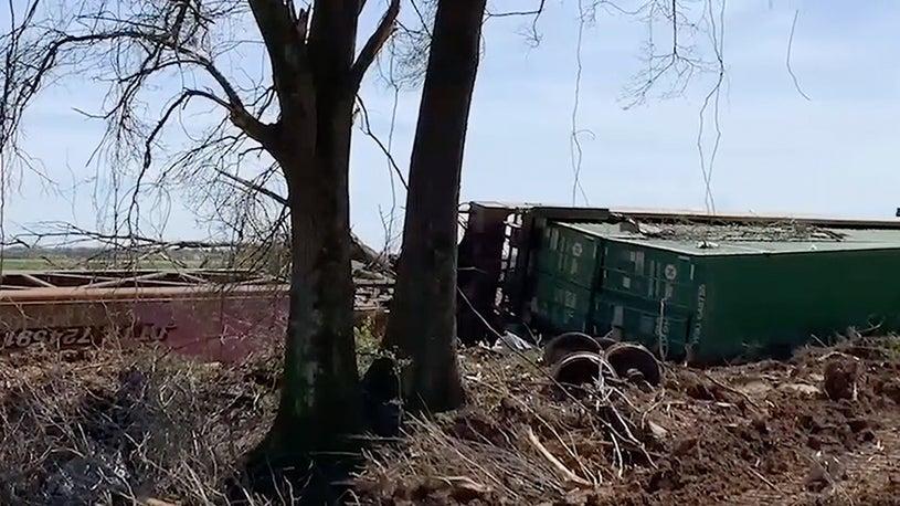EF3 Tornado Blows Train Cars Over in Jonesboro, AR