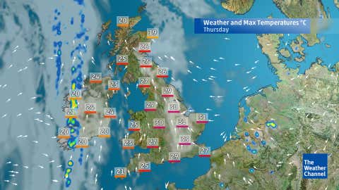 Predicted highs for Thursday afternoon