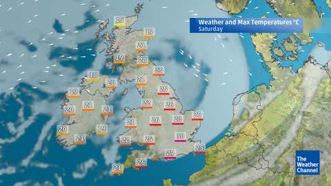 Predicted weather patterns for Saturday afternoon