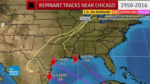 Tracks of tropical cyclone remnants within 65 nautical miles of downtown Chicago from 1950-2016. (NOAA Historical Hurricane Tracks)