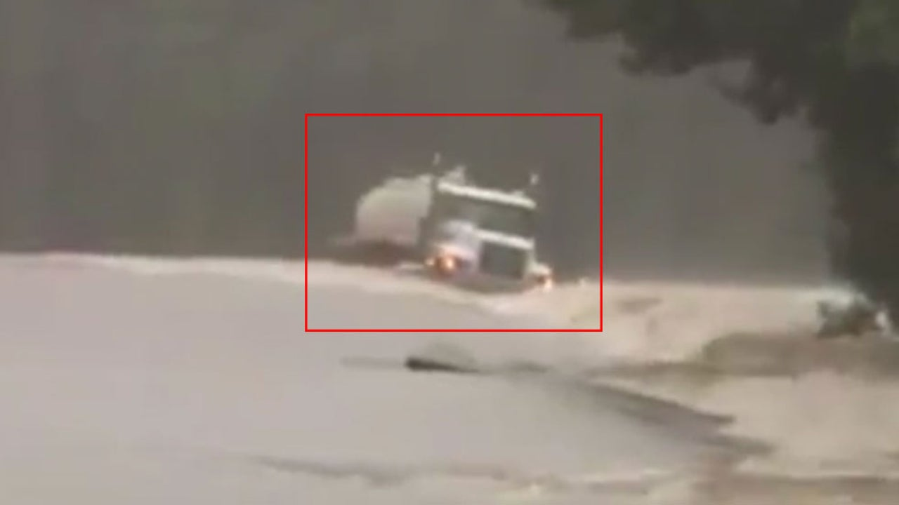 Watch: Scary Moment in Floodwaters