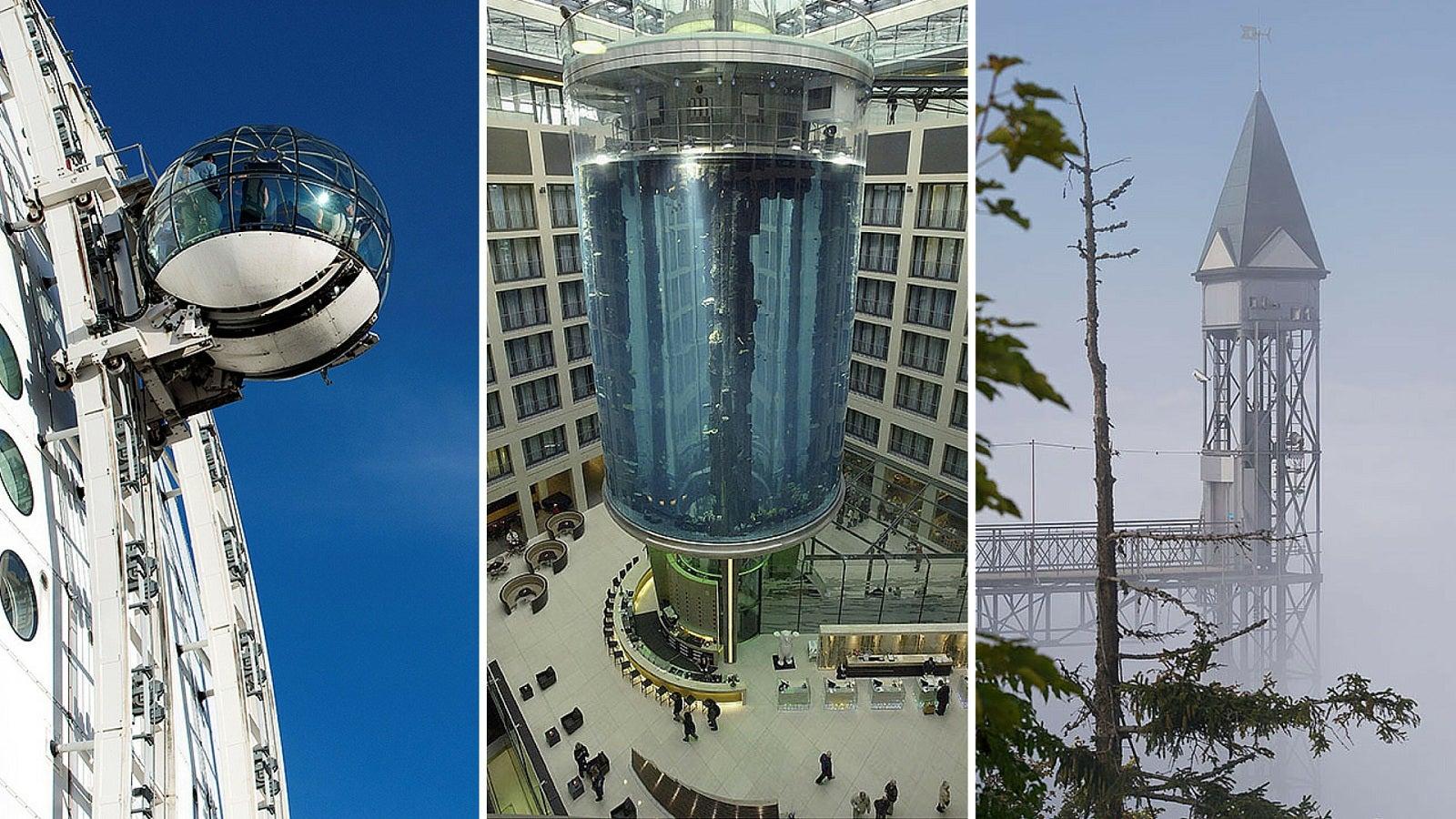 Eigentlich soll ein Aufzug nur die Treppe ersetzen oder gewaltige Höhen in Sekundenschnelle erreichen. Doch es gibt auch welche, die machen jede Fahrt zum Erlebnis. Mitten im Aquarium oder eine steile Felswand entlang: Diese Aufzüge ähneln einer Achterbahnfahrt.