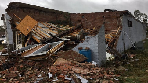 Four people were injured after a tornado touched down about 6 a.m. Monday, October 21, 2019, in Tyronza, Arkansas, according to Poinsett County Sheriff Kevin Molder. (Twitter/NWS Memphis)