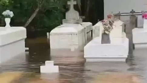 Storm Surge From Barry Floods Graveyard