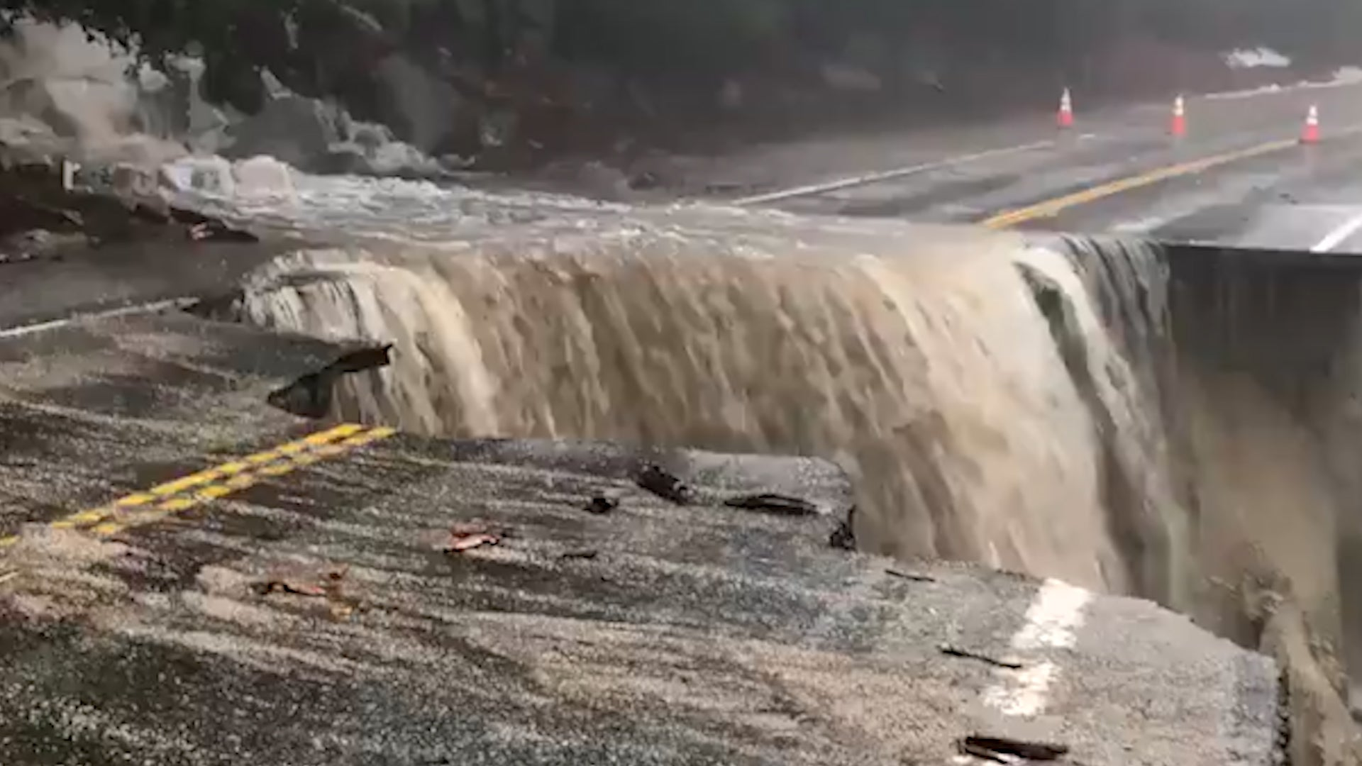 Flooding Turns Collapsed SoCal Highway into 'Waterfall'