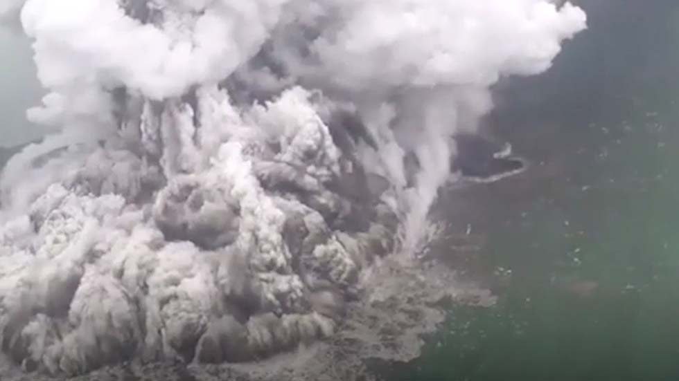 Steam and Smoke Billow from Erupting Indonesian Volcano