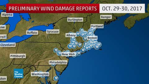 Reports of wind damage (blue dots) from Oct. 29-30, 2017.
