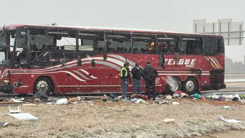 A bus is finally turned upright after a crash in De Soto County, Mississippi, where two were killed and dozens injured as Winter Storm Avery made driving conditions dangerous on Wednesday, Nov. 14, 2018. (Fox13Memphis.com)