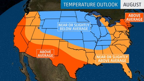 August Temperatures Forecast to Be Warmer than Average in