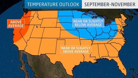 Fall Temperatures Expected to Trend Cooler in the East and Warmer in the West