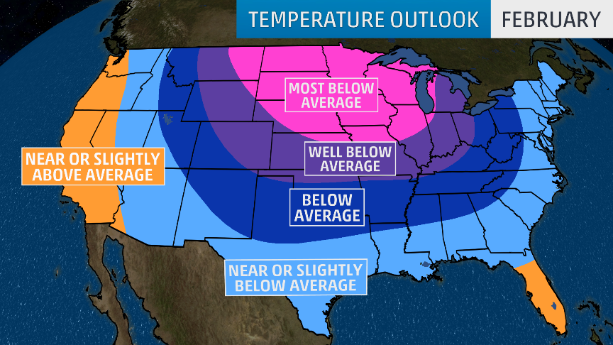 Florida East Coast Map.February Temperature Outlook Early Thaw Then Back To Frigid Air