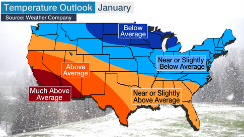 January-March 2020 Temperature Outlook: Colder in the North, Mild Across South