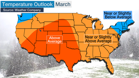 January March 2020 Temperature Outlook Colder In The North Mild Across South The Weather Channel Articles From The Weather Channel Weather Com