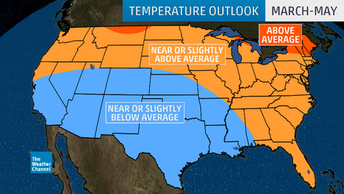 Spring 2019 Temperature Outlook: Warm North and East, Chilly South ...
