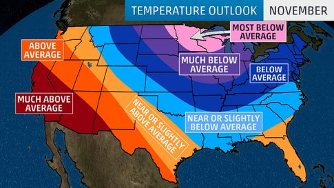 November 2019 U S  Temperature Outlook: Cold in Midwest