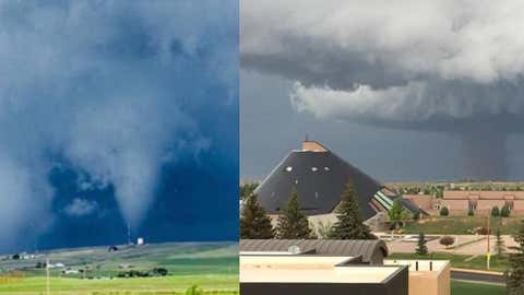 A pair of EF3 tornadoes near Gillette, Wyoming, on June 1, 2018 (left) and north of Laramie, Wyoming, on June 6, 2018 (right). (Suzanne Hansen and Amber Klemt)