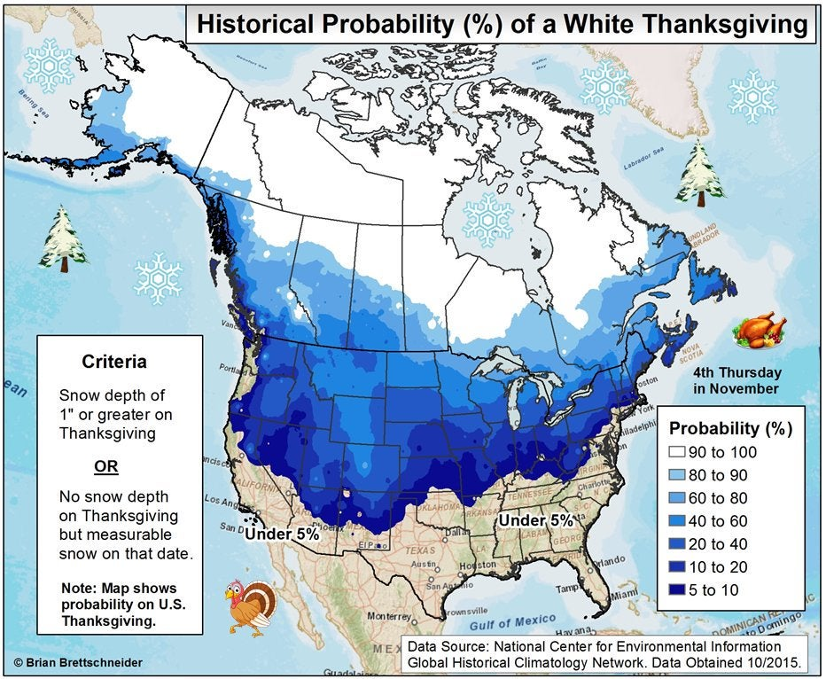 What Are The Odds Of A White Thanksgiving In The United States - Snow cover map of us