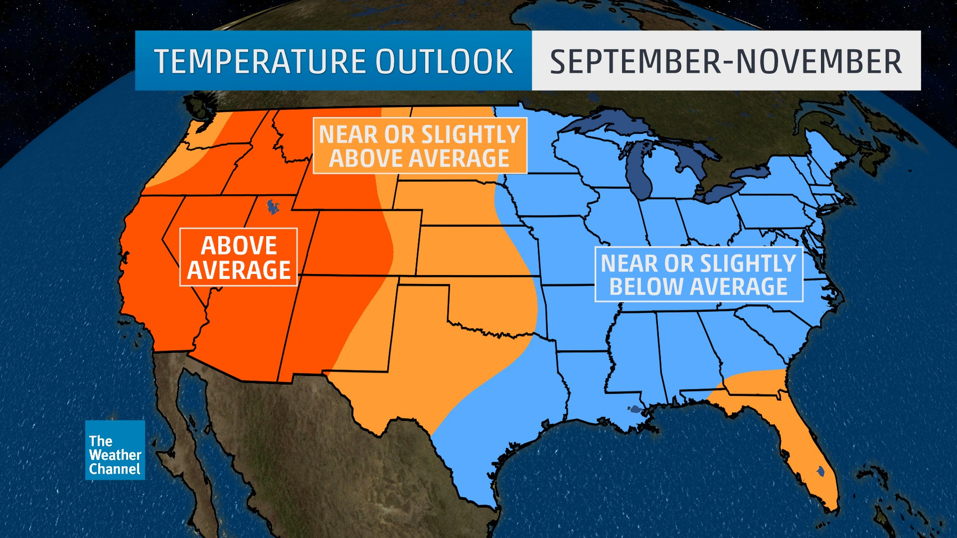 Fall Temperature Outlook West To Remain Warm East To Stay Cool The Weather Channel