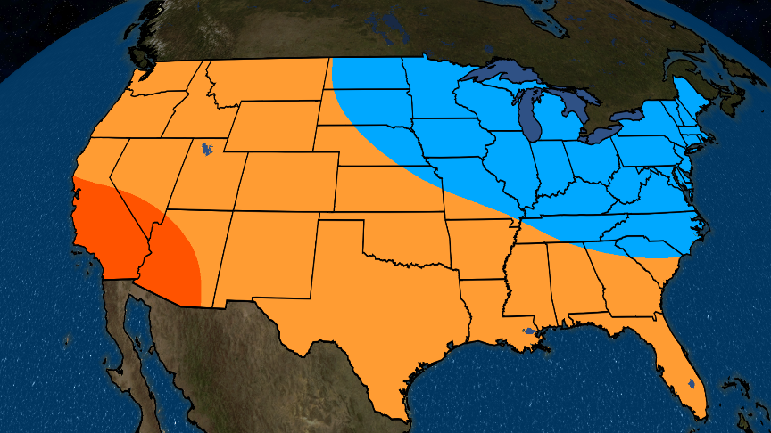 Fall and Early Winter Likely to be Mild in the West and South, Cooler in the Northeast