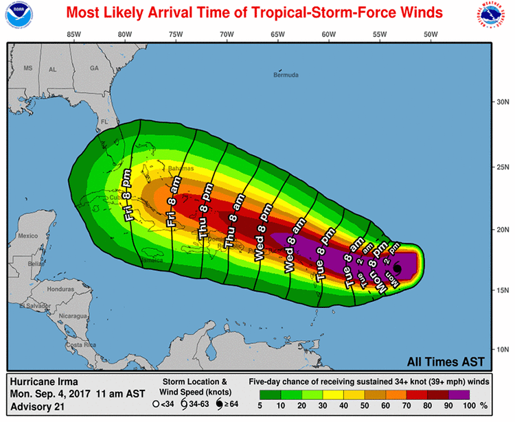 Most likely arrival time of tropical storm force winds from Irma as of 9/4/2017