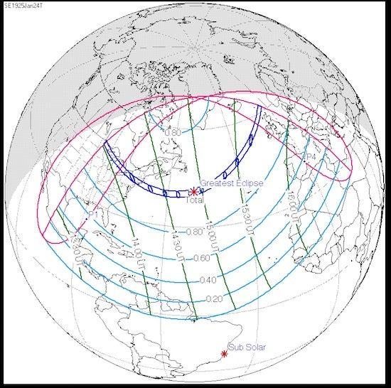 Path of U.S. total solar eclipse, 1/24/1925