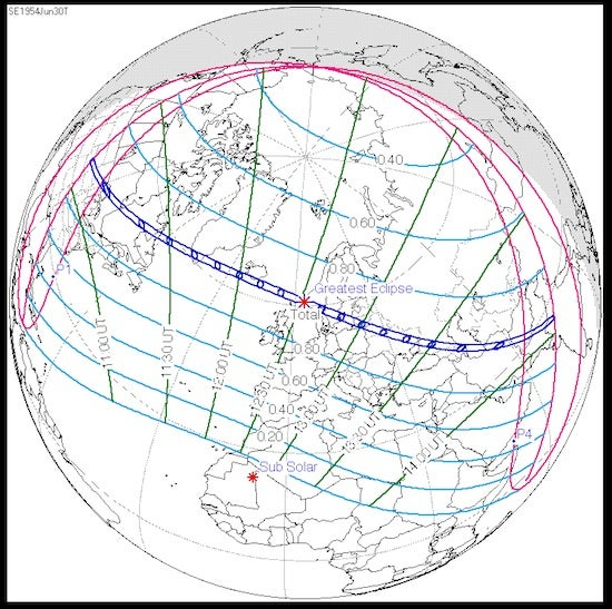 Path of U.S. total solar eclipse, 6/30/1954