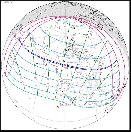 Path of U.S. total solar eclipse, 7/20/1963