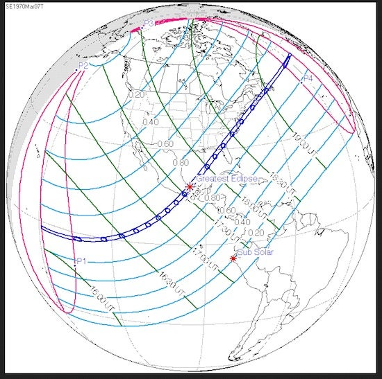 Path of U.S. total solar eclipse, 3/7/1970