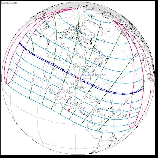 Path of U.S. total solar eclipse, 8/21/2017