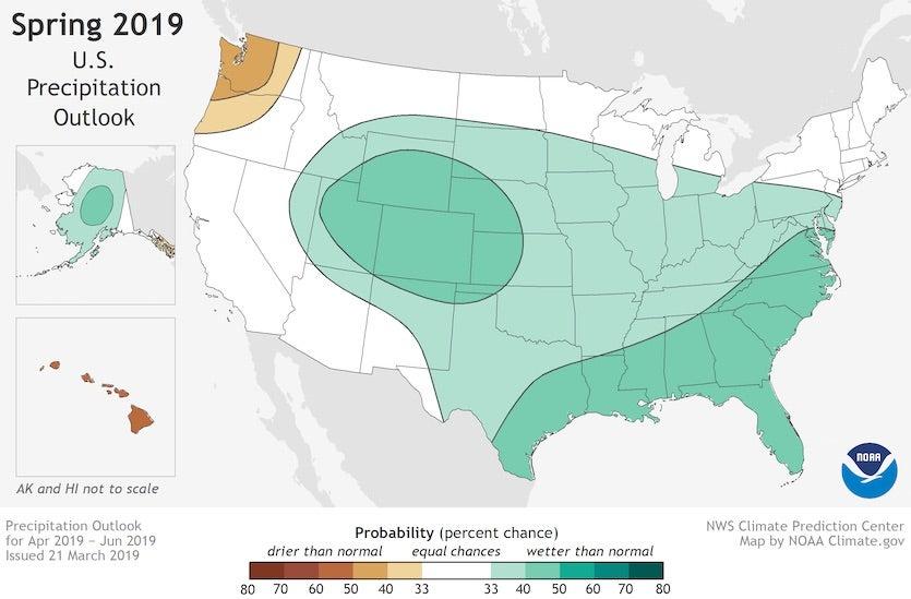 U.S. precipitation outlook for spring 2019