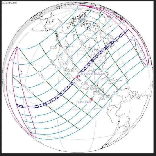 Path of U.S. total solar eclipse, 4/8/2024