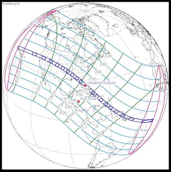 Path of U.S. total solar eclipse, 8/12/2045