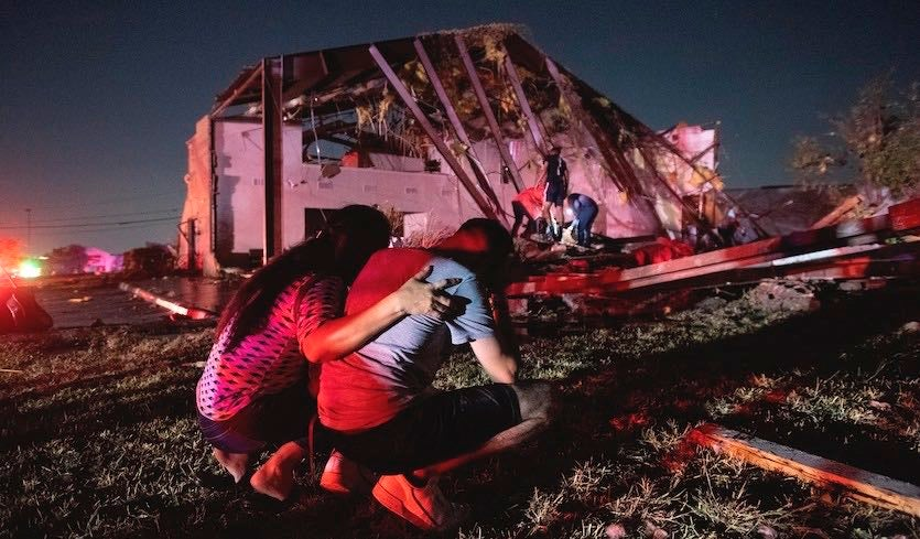 Damage from Dallas Tornado