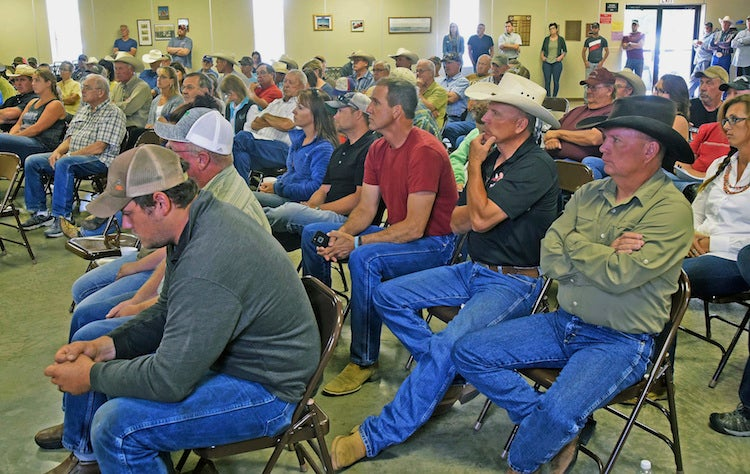 Farmers and ranchers at a town hall on drought in Golden Valley, ND, 7/12/2017