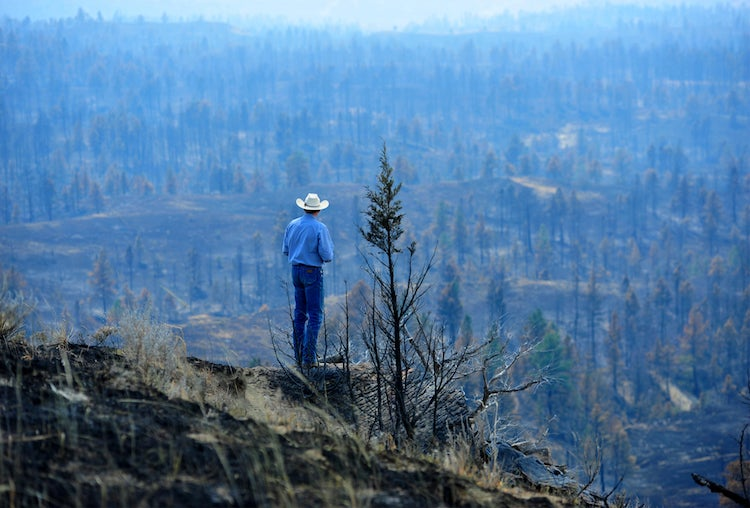 Ranch consumed by Lodgepole Complex fire in Montana, 7/25/2017