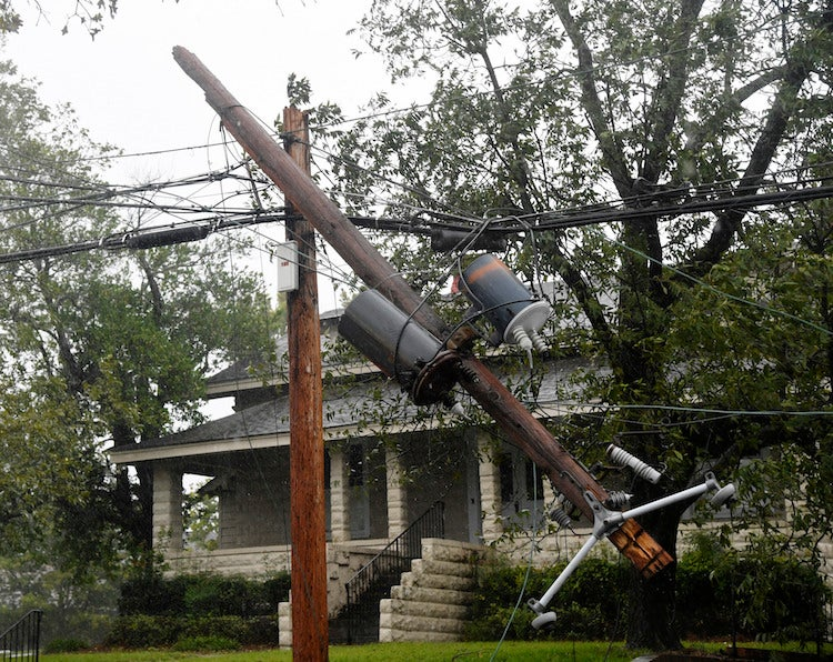 Utility pole in Macon, GA, broken by Irma, 9/11/2017