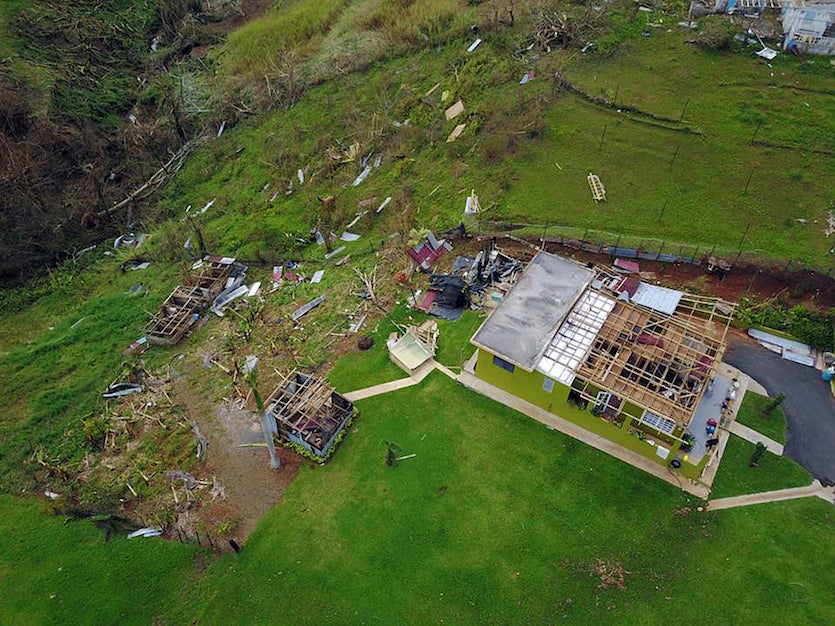 A farm in Barranquitas, Puerto Rico, destroyed by Hurricane Maria