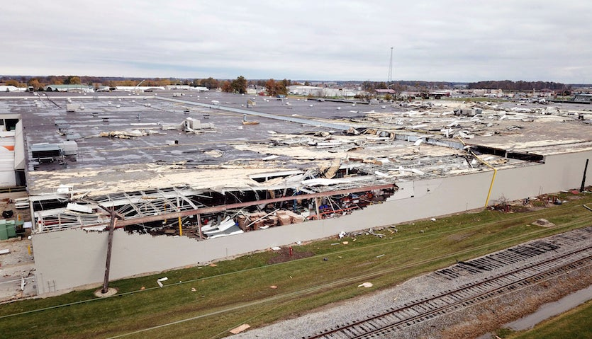 Damage from tornadic storm on 11/5/2017 at factory in Celina, OH