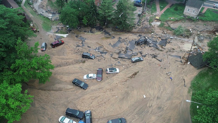 Drone view of damage from Ellicott City flood, 5/28/2018