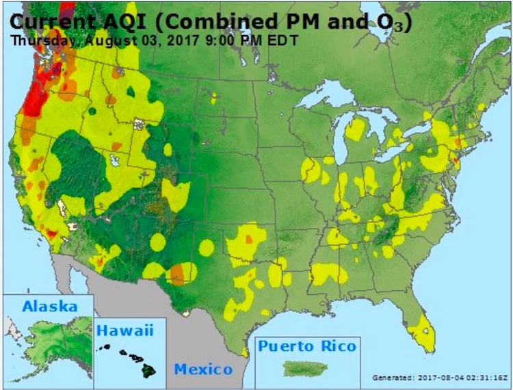 Air Quality Index at 6:00 pm EDT Thursday 8/3/2017