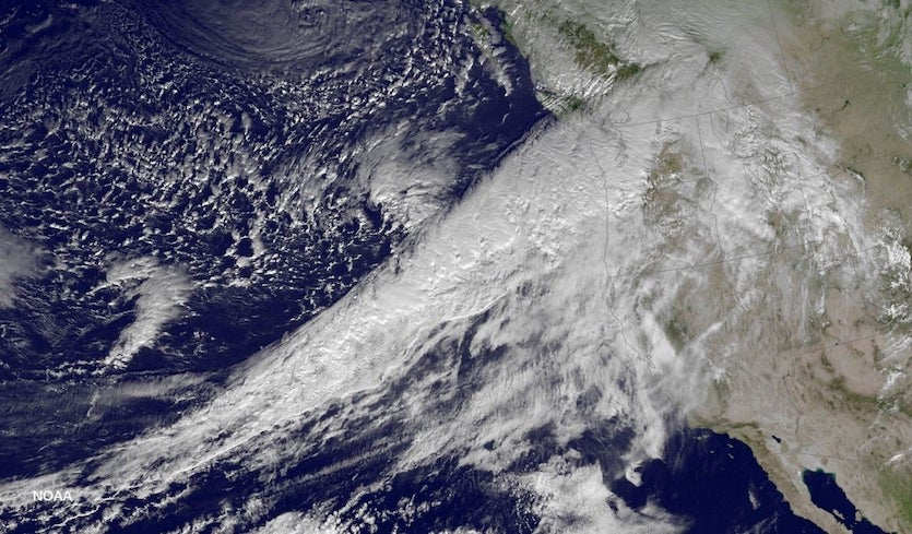 Visible satellite image of an atmospheric river sending copious amounts of moisture from the tropical Pacific into the Pacific Northwest on Dec. 8, 2015