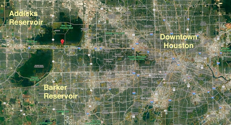 Addicks and Barker Reservoirs with downtown Houston